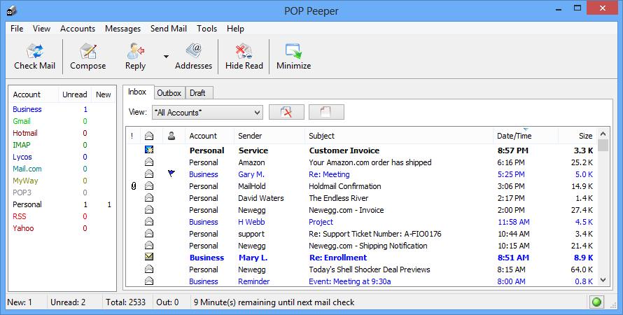 Full POP Peeper screenshot